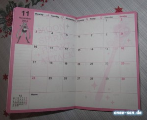 Sailor Moon Pretty Soldier Schedule Book 2014 Kalenderseiten
